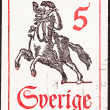 Swedish Postage Stamp Horseback Mail Delivery, Rider Blowing Pos — Stock Photo