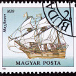 Canceled Hungarian Postage Stamp Mayflower Sailing Ship Pilgrams - Stock Photo