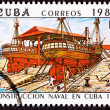 Canceled Cuba Postage Stamp Vapor Colon Construction in Cuban Dr - Stock Photo
