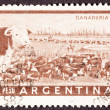 Canceled Argentinean Postage Stamp Heard of Beef Cattle Argentin - Stock Photo