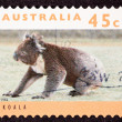 Canceled Australian Postage Stamp Koala Bear Sitting on Grassy G - Stock Photo