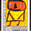 Canceled Dutch Netherlands Postage Stamp Child's Drawing Person — Stock Photo #7897176