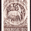 Canceled Swedish Postage Stamp Carving Wooden Door St. Stephen, — Stock Photo