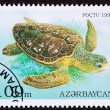 Canceled AzerbaijPostage Stamp Swimming Loggerhead SeTurtle — Stock Photo #7897225