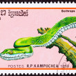 Canceled CambodiPostage Stamp Green Snake GuatemalPalm-Pit — Stock Photo #7897235