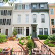 Stock Photo: Tidy Second Empire Style Row Homes, Brick Path, Washington DC
