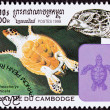 Canceled CambodiPostage Stamp Swimming Hawksbill SeTurtle, — Stock Photo #7897279