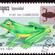 Cambodian Postage Stamp Wallace&#039;s Flying Frog, Rhacophorus Nigro - Stock Photo