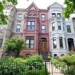 Italianate Style Row Homes Houses Washington DC Wide Angle — Stock Photo