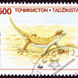 Stock Photo: Canceled TajikistPostage Stamp Even-fingered Gecko, Lizard, A