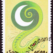 Stock Photo: Canceled CambodiPostage Chinese Year of Snake 2001 Series