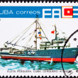 Canceled Cuban Postage Stamp Ocean Tuna Boat From Fishing Fleet - Stock Photo