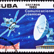 Canceled Cuban Postage Stamp Satellite Dish Communication, Outer — Stock Photo