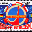 Cuban Postage Stamp Country Flags Communist Block Intercosmos Sp — Foto de Stock