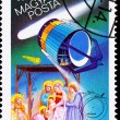 Hungarian Postage Stamp Giotto Spacecraft Halley&#039;s Comet, Adorat - Stock Photo