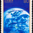 Canceled Japanese Postage Stamp Earth From Space Pacific Water C - Stock Photo