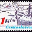 Stock Photo: Canceled CzechoslovakiPostage Stamp Vintage Freighter Bow Sid