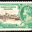 Canceled Turks Caicos Postage Stamp King George V Windsor Castle — Stock Photo