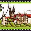 Canceled East German Postage Stamp Historic Gothic Albrechtsburg - Stock Photo