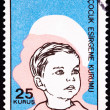 Canceled Turkish Postage Stamp Commemorating Social Services Boy — Stok fotoğraf