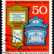 Постер, плакат: Canceled West Germany Postage Stamp Ornate Traditional Mailboxes