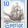 Canceled Sweden Postage Stamp Old Swedish Sailing Ship Flag Ocea — Stock Photo