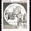 Canceled Italian Postage Stamp Scaliger Castle, Castello Scalige - Stock Photo