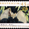 Canceled AustraliPostage Stamp Ghost Bat, Macrodermgigas, F — Stock Photo #7897606