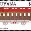 Stock Photo: Canceled GuyanTrain Postage Stamp Old Railroad Sleeping Carri