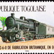 Canceled Togo Postage Stamp Railroad Steam Locomotive Train Cars — Stock Photo