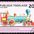 Canceled Togo Postage Stamp Old English Railroad Steam Engine Lo — Stock Photo