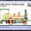 Stock Photo: Canceled Togo Postage Stamp Old Railroad Steam Engine Locomotive