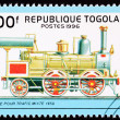 Canceled Togo Train Postage Stamp Old Railroad Steam Engine Loc — Stock Photo