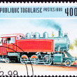 Canceled Togo Train Postage Stamp Old Railroad Steam Engine Loco — Stock Photo #7897681