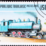 Canceled Togo Train Postage Stamp Old Railroad Steam Engine Loco — Stock Photo