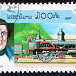 Canceled Laos Postage Stamp Old Railroad Steam Locomotive Robert - Stock Photo