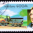 Canceled Laos Postage Stamp Railroad Steam Locomotive George Ste - Stock Photo