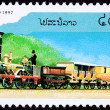 Canceled Laos Train Postage Stamp Old Railroad Steam Engine Loco — Stock Photo #7897786