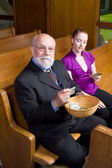 Older Man Young Woman Donating Church Offering — Stock Photo