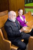 Senior White Man Young Woman Donating Money Church — Stock Photo