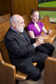 Older White Man Young Woman Donating Money Church Offering Baske — Stock Photo