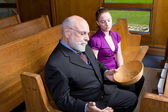 Senior Caucasian Grandfather Woman Granddaughter Church Pew Empt — Stock Photo