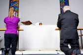 Senior Caucasian Man Young Woman Kneeling Communion Rail in Chur — Stock Photo