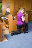 Young Woman Genuflecting Sign Cross Church Pew — Stock Photo