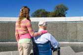 Grandfather Granddaughter Wheelchair WWII Memorial — Stock Photo