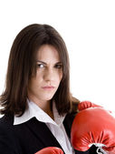 Angry Woman Suit, Boxing Gloves, Isolated White — Stock Photo