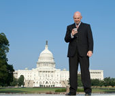 Smiling White Lobbyist Standing Front US Capitol — Stock Photo