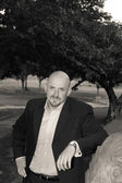 Bald Man Goatee Jacket In a Park, Black and White — Stock Photo