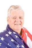 Patriotic Senior Man Wrap American Flag Isolated — Stock Photo