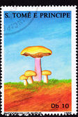 São Tomé Postage Stamp Wood Blewit, Clitocybe Nuda, Rhodopaxil — Stock Photo